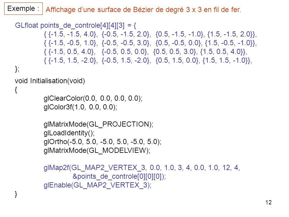 Exemple : Affichage d'une surface de Bézier de degré 3 x 3 en fil de fer. GLfloat points_de_controle[4][4][3] = {